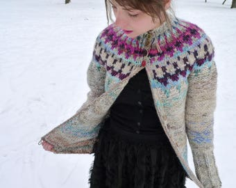 Handmade Icelandic style natural wool cardigan with a purple and pink Icelandic pattern
