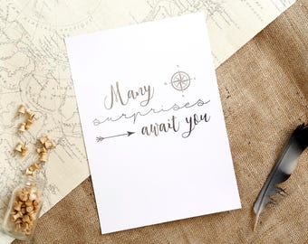 Many Surprises Await You | Pewter Foil A4 Print | Nursery Prints, Typography Poster, Explorer,  Wanderlust Decor, Inspirational Quotes