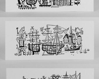 Mid Century Modern, Nautical Decor, JIM FLORA, HARBOR Scene, boat art, ship print, sailing ship art, ship decor, ship wall decor, 3 prints