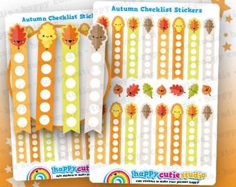 16 Cute Autumn/Fall/Leaves Checklist Planner Stickers, Filofax, Erin Condren, Happy Planner,  Kawaii, Cute Sticker, UK