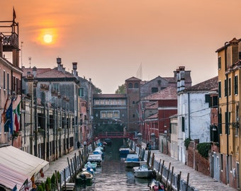 "Venice Italy, European Photography, Sunset, Canals, ""A VENETIAN SUNSET"""