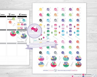 Knitting stickers knitting planner stickers crochet stickers crochet planner stickers yarn ball stickers yarn ball planner stickers planner