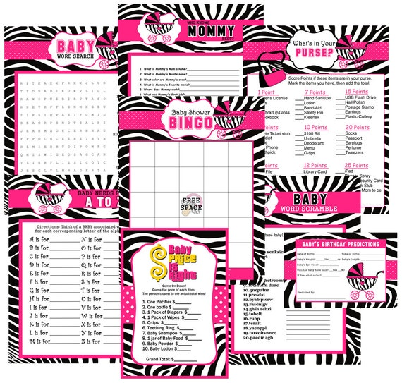 Zebra Print Baby Shower Party Games Games Baby Shower