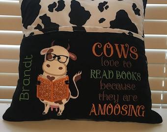 Cow book pillow