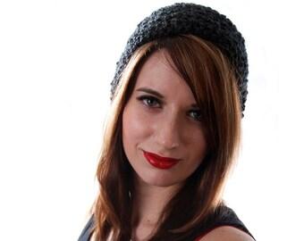 Black Slouchy Hat Slouchy Beanie Women Crochet Slouchy Hat Slouchy Beanie Men Black Fuzzy Hat Crochet Slouchy Hat