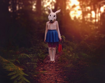 Collector - Halloween Photography - Fall Art - Conceptual Image - Wall Print - Autumn Woods - Rabbit Mask - Carrots