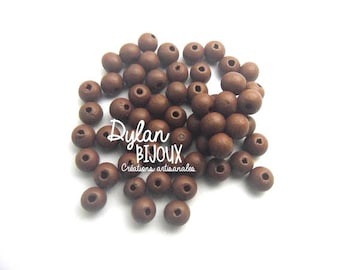 25 8 mm Brown wooden beads