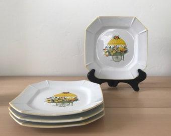 Set Of 4 Vintage Floral Cart Dessert Plates