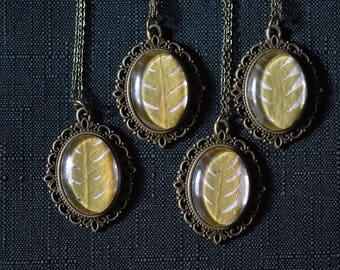 Golden Fern Frond Victorian Pendant necklace