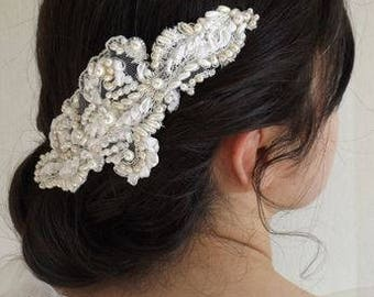 Bridal hair comb, beaded and embroidered lace