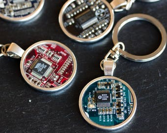 Circuit board Keychain, keychain for men, gift for him, cool Geeky Keyring, men's gift, recycled, computer nerd gift, tech gift