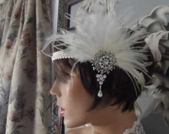 GATSBY headpiece GATSBY headband fascinator silver plated hair accessories feather ivory  20's wedding headband wedding accessories flapper