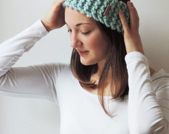 Headband SARAH in Aquamarine | Knit Earwarmer | Chunky Knit