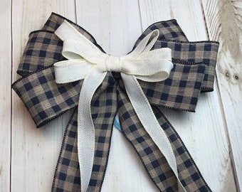 Country Blue Plaid Bow, Large Bow, Wreath Bow, Farmhouse Bow, wired ribbon bow, Blue bow, porch decor, handmade bow, accessory bow