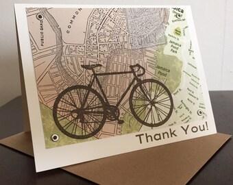 Boston Map and Bike Thank You Card - Screen-Printed Greeting Card
