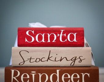 Christmas Theme Wood Block Stacks / Stacker - Santa / Stockings / Reindeer -  {Merry Christmas, Christmas wood blocks, Christmas Blocks}