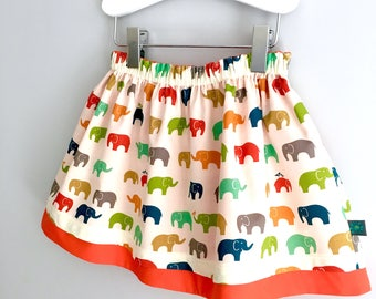 NEW! Organic baby skirt, girls skirt, orgnic skirt, cotton skirt, elephants, baby gift, toddler skirt, toddler gift