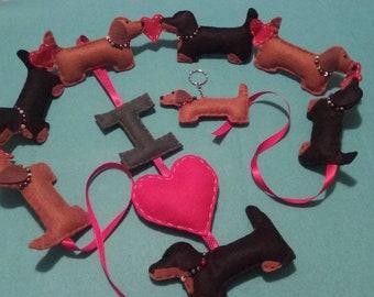 Handmade Dachshund Sausage Dog Hanging/Decoration/Sign/Gift - I love Dachshunds