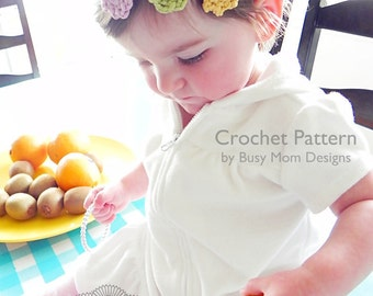 CROCHET PATTERN - Trio of Posies Headband - All sizes included - Very Fast and Easy pattern - PDF 305 - Sell what you Make