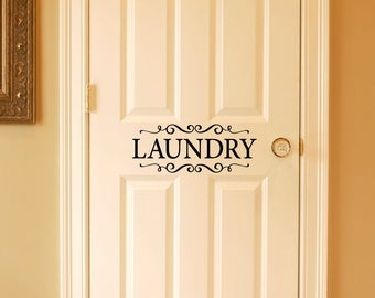 Laundry Decal - Door Sticker - Laundry with scrolls Wall Decal - Laundry Room Decor