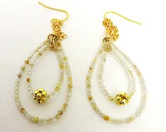 Golden Rutilated Quartz Earrings, Teardrop Natural Quartz And Gold fill  Earrings, Mothers Day Gift, GemlinkDesign Jewelry