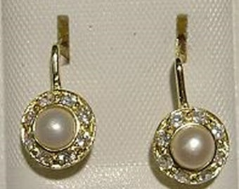 New 14kt  Gold Pearl Antique Style Euro Earrings-Free Shipping!