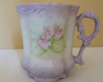 Vintage delicate Lavender and Pink Floral Bouquet Coffee Mug- Hand Painted and Signed