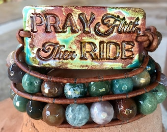 Pray First Then Ride - Natural agate gemstone leather triple wrap bracelet handmade with Route 66 metal button clasp.