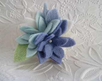 Blue Felt Flower Brooch Pin Wool Felted Corsage