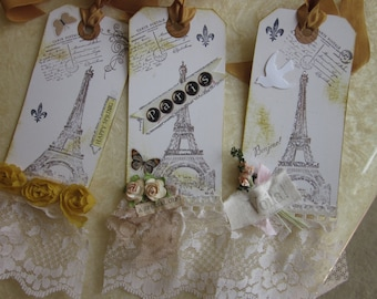 Adorable Altered Gift Tags CARTE POSTALE ~ Eiffel Tower Glitter 3
