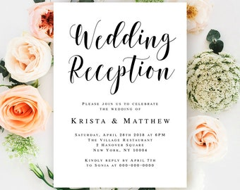 Reception invitation etsy wedding reception invitation printable reception party invitation template editable invitation template rustic wedding reception ideas vm31 stopboris Choice Image
