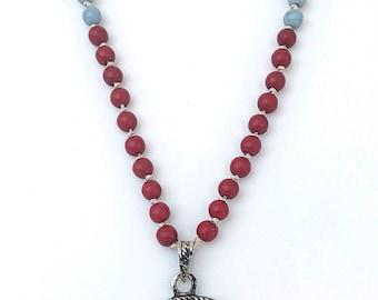 Chakra Mala Necklace, Rainbow Gemstones pendant Necklace, Red white howlite necklace, Yoga mala, Boho necklace, 108 Mala Beads, Spiritual