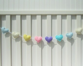 Heart banner / garland / bunting - pastel - Nursery decoration