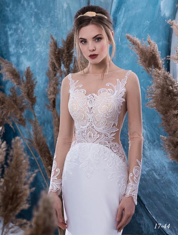 wedding Wedding dress dress sleeve Bride wedding dress NYC dress Long Wedding train with from Vivian Satin xP7wq7d1gX