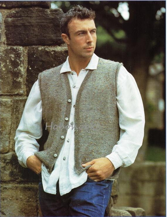 Mens Knitting Pattern Mens Waistcoat Mens Sleeveless Cardigan