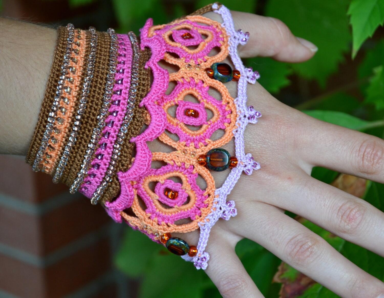 Boho chic wristband pattern, freeform crochet bracelet, crochet cuff ...