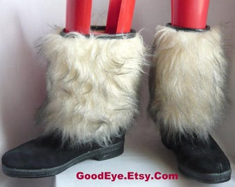 Vintage Fur Winter Ankle Boots Snow /  Size 8  Eur 38.5 UK 5.5 / Black Suede  Fleece Lined / Faux Fur Cold Weather SNOWLAND