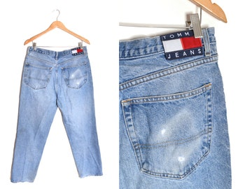 90s Tommy Hilfiger Baggy Painters Pants Jeans 34x29 Denim Relaxed Blue Distressed Spell Out