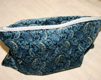 Travel Big Pouch, School Pencil case ,Blue Pouch,Handmade case ,Zipper Pouch, Cotton Pouch, Cosmetics Pouch,
