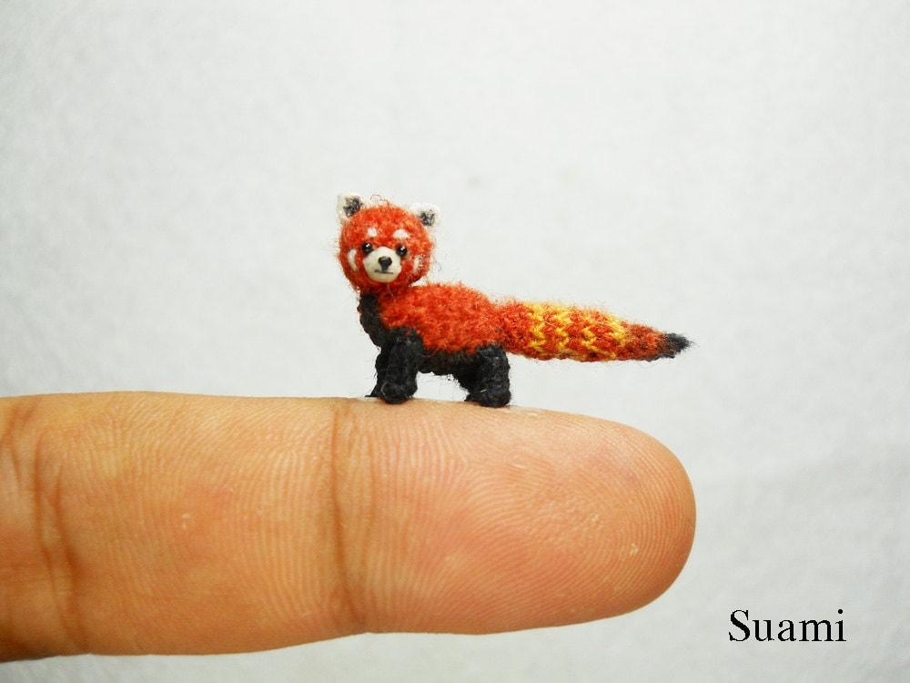 Little Amigurumi Lion : Miniature red panda shining cat micro mini amigurumi crochet