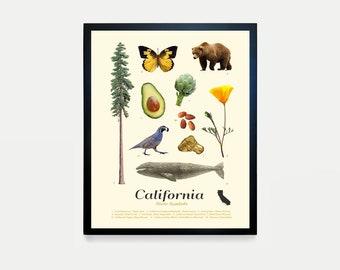 California State Symbols Typology - California Art - California Poster - California Wall Art - California Decor  Los Angeles - San Francisco
