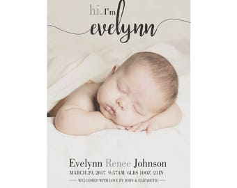 Photo Birth Announcement, Baby Announcement, Baby Boy Birth Announcement, Baby Girl Birth Announcement, Custom Digital Birth Announcement