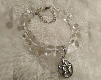 Pentacle Clear Quartz Wire Bracelet