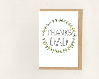 Thanks dad thanks custom greeting card fathers day thanks dad greeting card fathers day custom thank you father of the bride green white rustic woodland wreath australia m4hsunfo
