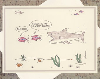 Humor Card, Funny Shark Card, Funny Greeting Card, Funny Fish, Quirky Card, Under The Sea, Cartoon Card