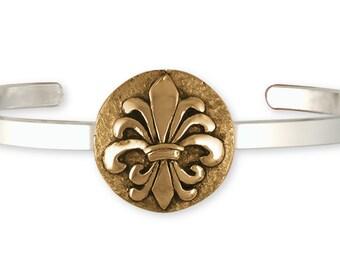 Fleur De Lis Bracelet Jewelry Sterling Silver And Yellow Bronze Handmade Flower Bracelet FD20-BZCB