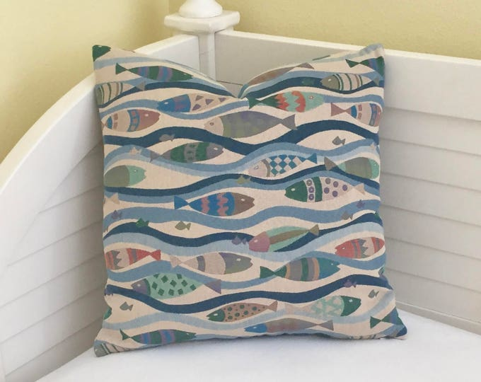 School of Fish and Waves Designer Pillow Cover - Square, Euro and Lumbar Sizes