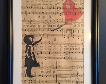 Vintage Antique Music Book Wall Art Print Picture - BANKSY BALLOON GIRL