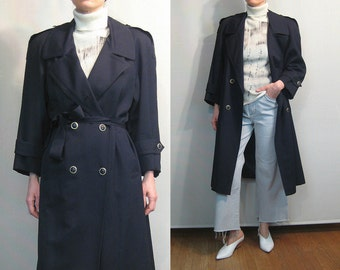Black WOOL Double Breasted Trench Coat