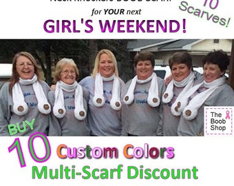 10 BOOB SCARVES  22% off Multi Boob Scarf order. Team accessories, Breast Cancer awareness, Dirty Santa Gifts, Boys weekend, Bachelorette